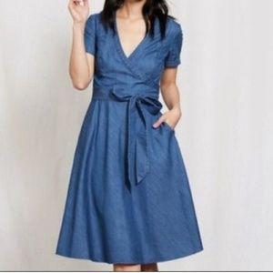 Boden Lara Chambray Denim Wrap Short-Sleeve Dress